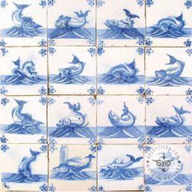 16 Rare Fish Tiles Dutch Delft Blue Tiles #S29