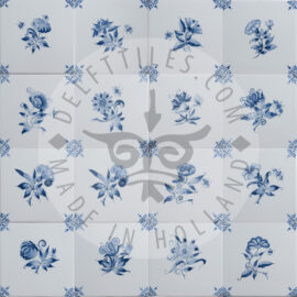 Small Delft Blue Decorated Flower Tiles (TMB3)