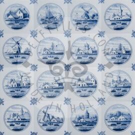 Delft Blue Dutch Landscape In Circle Tiles (TML3)