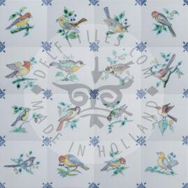 Delft Blue Bird Tiles In Color (TMB6)