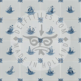 Hand Decorated Small Boat Tiles (TMS13)