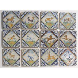 17th Century Unicorn Horses Tiles  #PC38