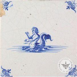 Merman Dutch Delft Blue Tile #S30