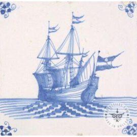 Beautiful Dutch Delft Blue Ship Tile #S31