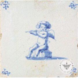 Dutch Delft Blue Decorated Cupid Tile #C5