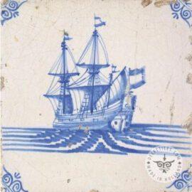 Beautiful Dutch Delft Blue Ship Tile #S32