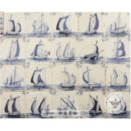 Beautiful Dutch Delft Blue Ship Tile #S33