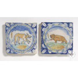 2 Rare Antique Animal Tiles  #PC41