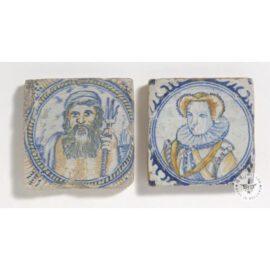 2 Rare Antique Portrait Tiles  #PC42