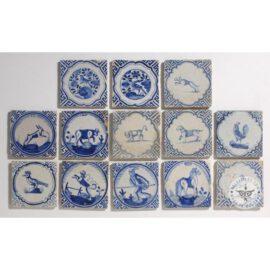 Various Blue 17th Century Delft Blue Tiles  #D32