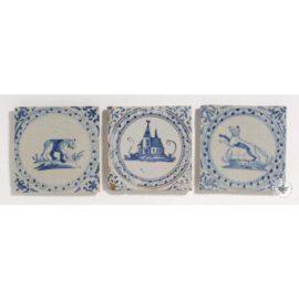 3 Antique Delft Blue Tiles  #D30