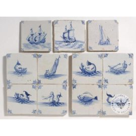 Various Mythological Boat Fish Tiles #S35