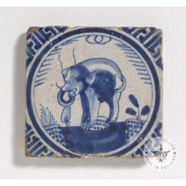 17th Century Delft Blue Elephant Tile  #D34