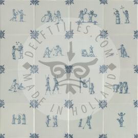 Delft Blue Two Children Decorated Tiles (TMF3)