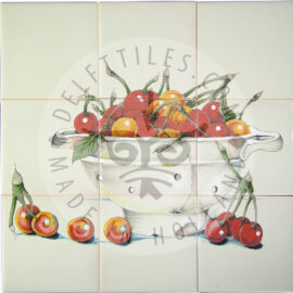 Colander With Cherries Panel 3×3 Tiles (HF9a)